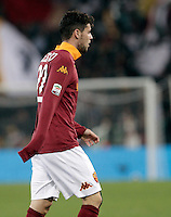 Calcio, Serie A: Roma vs Palermo. Roma, stadio Olimpico, 4 novembre 2012..AS Roma forward Mattia Destro leaves the pitch after receiving a red card during the Italian Serie A football match between AS Roma and Palermo, at Rome's Olympic stadium, 4 november 2012..UPDATE IMAGES PRESS/Riccardo De Luca