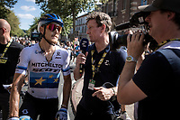 European Champion Matteo Trentin (ITA/Mitchelton Scott) post race interviewed by Matt Stephens for Eurosport TV. <br /> <br /> Stage 10: Saint-Flour to Albi (217.5km)<br /> 106th Tour de France 2019 (2.UWT)<br /> <br /> ©kramon