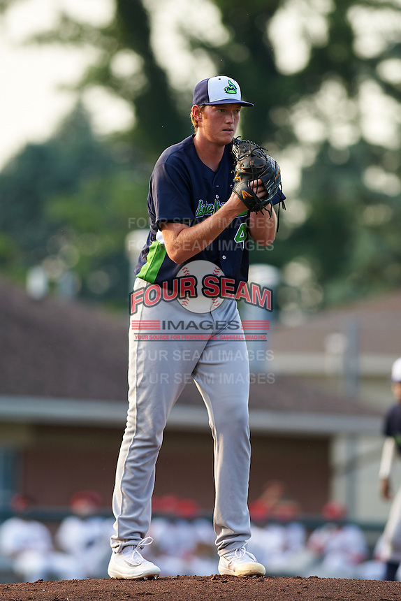 Vermont Lake Monsters starting pitcher A.J. Puk (45) gets ready to deliver a pitch during the first inning of his professional debut against the Auburn Doubledays on July 12, 2016 at Falcon Park in Auburn, New York.  Auburn defeated Vermont 3-1.  (Mike Janes/Four Seam Images)