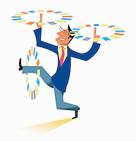 Businessman multitasking spinning papers in circles round arms and leg