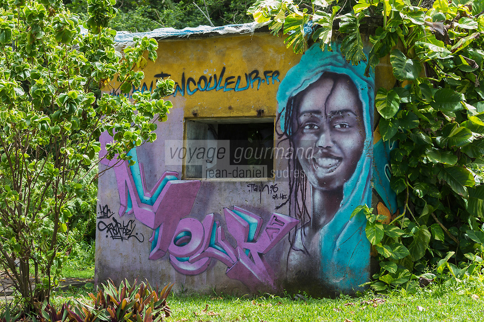 France, île de la Réunion, Saint Joseph, Manapany les Bains, mur peint  // France, Ile de la Reunion (French overseas department), Saint Joseph, Manapany les Bains: Painted wall