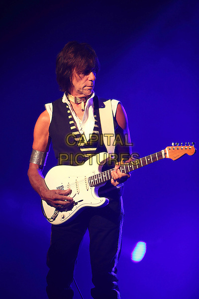 Jeff Beck.Concert in Moscow.July 27th, 2011.on stage in concert live gig performance performing music half length black sleeveless waistcoat silver cuff guitar trousers 3/4 .CAP/PER/SB.©SB/PersonaStars/CapitalPictures
