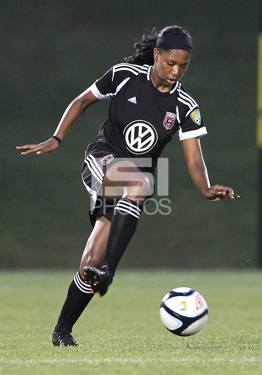 BOYDS, MARYLAND-JULY 07,2012:  Tiffany Brown (9) of DC United Women controls the ball against the Dayton Dutch Lions during a W League game at Maryland Soccerplex, in Boyds, Maryland. DC United women won 4-1.