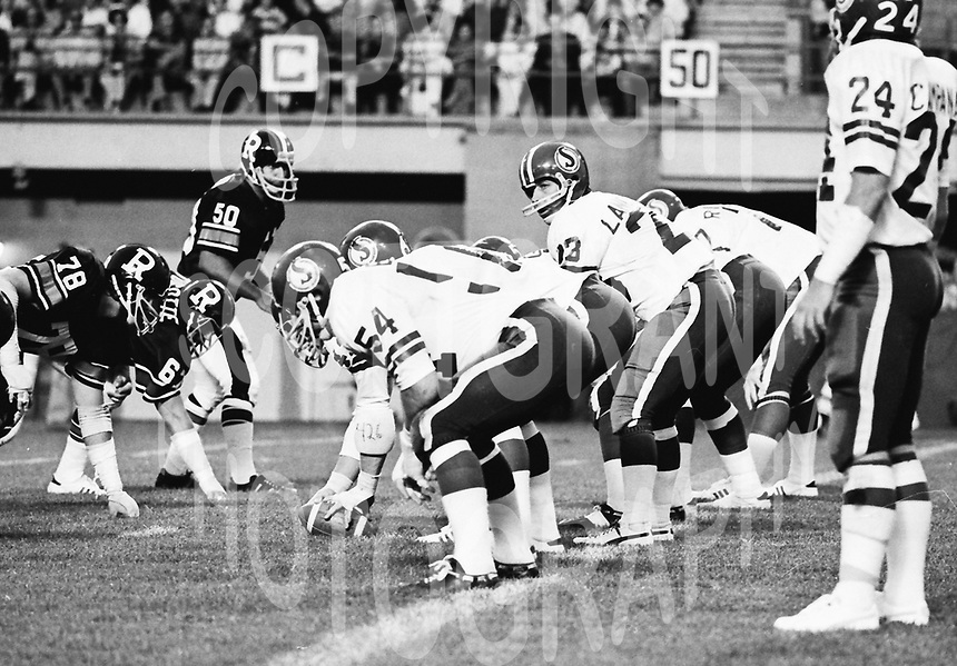 Ron Lancaster Saskatchewan Roughriders quarterback. Saskatchewan Roughriders vs Ottawa Rough Riders 1976. Copyright photograph Scott Grant