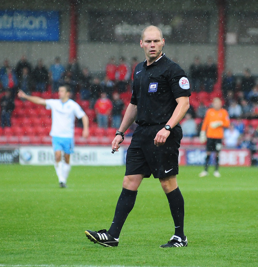 Referee Charles Breakspear<br /> <br /> Photographer Chris Vaughan/CameraSport<br /> <br /> Football - The Football League Sky Bet League One - Crewe Alexandra v Coventry City - Saturday 11th October 2014 - Alexandra Stadium - Crewe<br /> <br /> &copy; CameraSport - 43 Linden Ave. Countesthorpe. Leicester. England. LE8 5PG - Tel: +44 (0) 116 277 4147 - admin@camerasport.com - www.camerasport.com