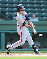Outfielder Matt Weaver (4) of the Rome Braves, Class A affiliate of the Atlanta Braves, in the first game of a doubleheader against the Greenville Drive on August 15, 2011, at Fluor Field at the West End in Greenville, South Carolina. Rome defeated Greenville, 6-3. (Tom Priddy/Four Seam Images)