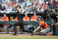 Mississippi State Bulldogs outfielder Elijah MacNamee (40) follows through on his swing during Game 4 of the NCAA College World Series against the Auburn Tigers on June 16, 2019 at TD Ameritrade Park in Omaha, Nebraska. Mississippi State defeated Auburn 5-4. (Andrew Woolley/Four Seam Images)