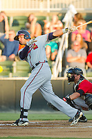 Edison Sanchez (2) of the Rome Braves follows through on his swing against the Kannapolis Intimidators at CMC-Northeast Stadium on August 24, 2013 in Kannapolis, North Carolina.  The Intimidators defeated the Braves 6-1.  (Brian Westerholt/Four Seam Images)