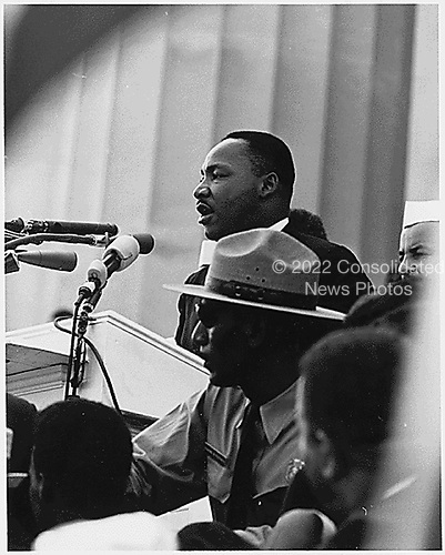 Dr. Martin Luther King, Jr. delivers his &quot;I have a Dream&quot; speech on August 28, 1963 from the steps of the Lincoln Memorial in Washington, D.C. on August 28, 1963.<br /> Credit: National Archives via CNP