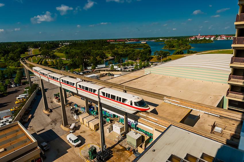 Monorail entering the main lobby of the Contemporary Resort, Magic Kingdom, Walt Disney World, Orlando, Florida USA