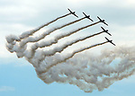 (Chicopee, MA, 07/15/18) The Geico Skytypers perform during the Great New England Air and Space Show at Westover Air Reserve Base in Chicopee on Sunday, July 15, 2018. Photo by Christopher Evans