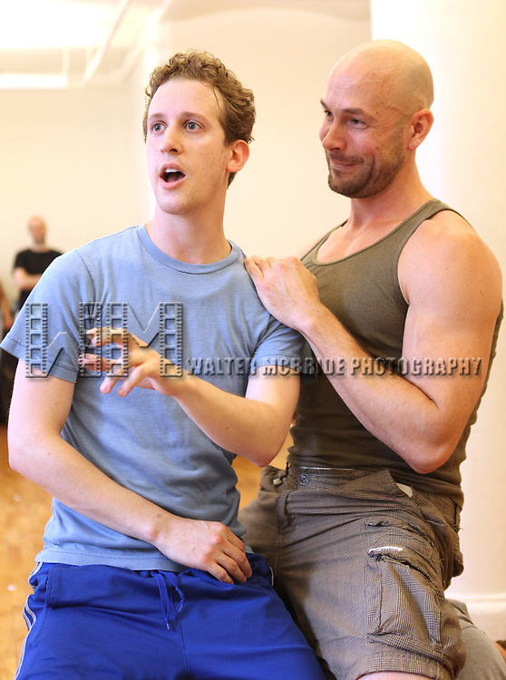 Alex Wyse & Wade McCollum.with the cast from 'Triassic Parq The Musical'  during a Sneak Peek Rehearsal at the CAP21 Studios in New York City on 5/30/2012. © Walter McBride/WM Photography / Retna Ltd.