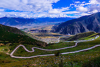 Road to Ganden Monastery, Dagze, Tibet (Xizang), China.