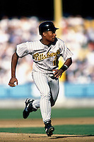 Jose Guillen of the Pittsburgh Pirates participates in a Major League Baseball game at Dodger Stadium during the 1998 season in Los Angeles, California. (Larry Goren/Four Seam Images)
