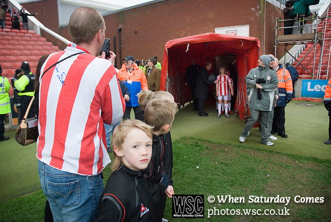 Stoke City 2 Bristol City 1, 19th April 2008. The mascots parents await the teams entrance.Photo by Paul ThompsonStoke City 2 Bristol City 1, 19/04/2008. 	Britannia Stadium, Championship. Photo by Paul Thompson.