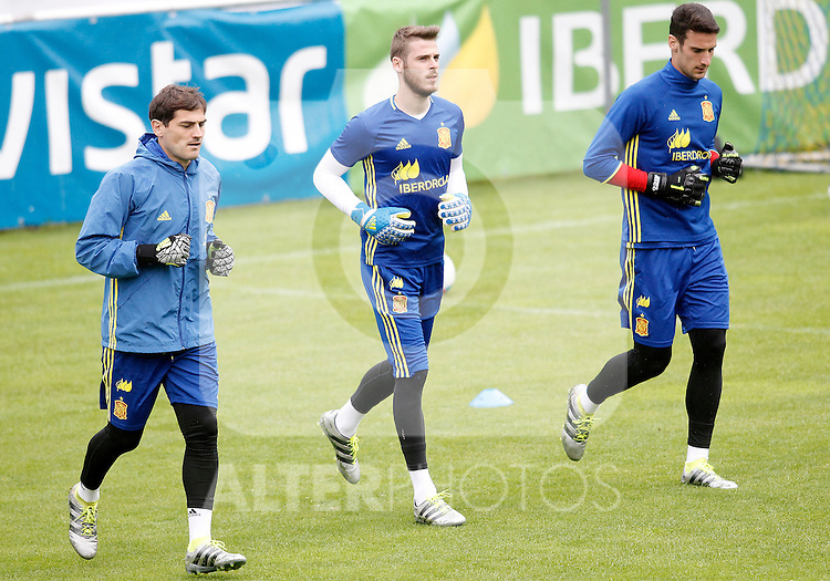 Spain's Iker Casillas, David De Gea and Sergio Rico during preparing training stage to Euro 2016. May 30,2016.(ALTERPHOTOS/Acero)