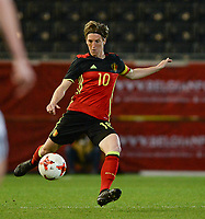 20170411 - LEUVEN ,  BELGIUM : Belgian Aline Zeler pictured during the friendly female soccer game between the Belgian Red Flames and Scotland , a friendly game in the preparation for the European Championship in The Netherlands 2017  , Tuesday 11 th April 2017 at Stadion Den Dreef  in Leuven , Belgium. PHOTO SPORTPIX.BE | DAVID CATRY