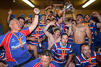 The Horowhenua Kapiti team celebrates winning the 2018 Heartland Championship Lochore Cup rugby final between Horowhenua Kapiti and Wairarapa Bush at Levin Domain in Levin, New Zealand on Sunday, 28 October 2018. Photo: Dave Lintott / lintottphoto.co.nz