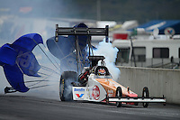 Oct. 6, 2012; Mohnton, PA, USA: NHRA top fuel dragster driver Clay Millican during qualifying for the Auto Plus Nationals at Maple Grove Raceway. Mandatory Credit: Mark J. Rebilas-