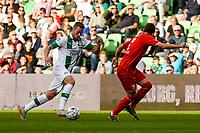 GRONINGEN - Voetbal, FC Groningen - FC Twente, Eredivisie, seizoen 2019-2020, 10-08-2019, FC Groningen speler Gabriel Gudmundsson in duel met Paul Verhaegh