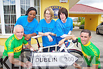 Pictured at the launch of the Kerry to Dublin cycle in aid of Recovery Haven, at the Recovery Haven on Wednesday, front from left: Matt Lacey, Cian Hogan, back: Bukola Duyile, Siobhan McSweeney and Breda Breen..