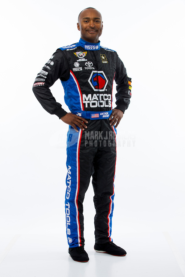 Jan 15, 2015; Jupiter, FL, USA; NHRA top fuel driver Antron Brown poses for a portrait during preseason testing at Palm Beach International Raceway. Mandatory Credit: Mark J. Rebilas-USA TODAY Sports