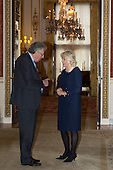 London, Uk. 15/10/2015. HRH The Duchess of Cornwall meets Lord Howell of Guildford. The Duchess of Cornwall on behalf of Her Majesty The Queen, Patron of The Royal Commonwealth Society, holds a reception for winners of The Queen's Commonwealth Essay Competition at Buckingham Palace. The Queen's Commonwealth Essay Competition was founded in 1883 and is the world's oldest international schools' writing contest. This year's competition, sponsored by Cambridge University Press, received more than 13,000 entries from over 600 schools in 49 Commonwealth countries and territories. The Duchess of Cornwall hands out awards to young writers who have travelled from across the Commonwealth to attend the reception. This year's winners have come from Cyprus, Botswana, The Cayman Islands and as far away as Tristan da Cunha - over 9000km away.