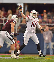 STAFF PHOTO BEN GOFF  @NWABenGoff -- 09/27/14 Arkansas quarterback Brandon Allen throws an incomplete pass during the second quarter of the game against Texas A&M in the Southwest Classic in AT&T Stadium in Arlington, Texas on Saturday September 27, 2014.