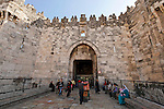 Israel, Jerusalem, East Jerusalem, Damascus Gate, the Arabs call it Bab el-Amud and the Jews Sha'ar Shkhem<br />