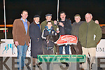 PRESENTATION: Liam Dowling presenting Phil Healy owner of Greenville Girl winner of the Green Heat @ Stud Sweepstake Final at the Kingdom Greyhound Stadium on Saturday l-r: Declan Dowling (General Manager KGS), Dick O'Sullivan (Chairman IGB), Phil Healy, Stephen Reidy, Liam Dowling, Mickey Reidy and Frank Thornton (Control Stewart KGS).