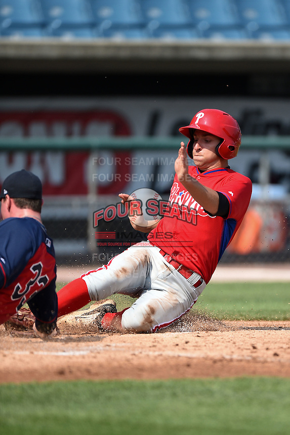 Dante Ricciardi (4) of Worcester Academy in West Boylston, Massachusetts playing for the Philadelphia Phillies scout team during the East Coast Pro Showcase on August 1, 2014 at NBT Bank Stadium in Syracuse, New York.  (Mike Janes/Four Seam Images)