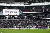 5th November 2017, Wembley Stadium, London England; EPL Premier League football, Tottenham Hotspur versus Crystal Palace; Tottenham Hotspur & Crystal Palace starting eleven players line up to stand for a minutes silence at Wembley Stadium for those who have died in wars