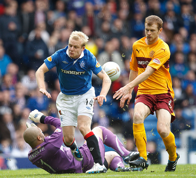Steven Naismith takes to the air to avoid Darren Randolph as defender Mark Reynolds gives chase
