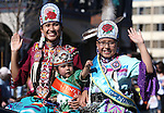 Miss Numaga Princess Alyssas Songoi, Tiny Tot Princess Karianna John and Jr. Miss Princess Chesney Sampson ride in the annual Nevada Day parade in Carson City, Nev. on Saturday, Oct. 29, 2016. <br />