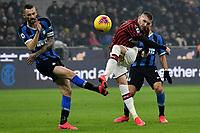 Marcelo Brozovic of FC Internazionale , Ante Rebic of AC Milan <br /> Milano 09/02/2020 Stadio San Siro <br /> Football Serie A 2019/2020 <br /> FC Internazionale - AC Milan <br /> Photo Andrea Staccioli / Insidefoto