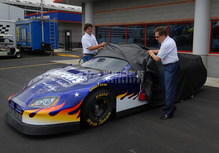 May 27, 2006; Charlotte, NC, USA; Nascar Nextel Cup driver Michael Waltrip and his brother Darrell Waltrip unveil the Busch Series car Darrell will race in Martinsville, VA later this year. Mandatory Credit: Mark J. Rebilas.