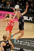 10th September 2017, PG Arena, Napier, New Zealand; Taini Jamison Netball Trophy, New Zealand versus England;  New Zealands Claire Kersten contests the ball with Englands Helen Housby