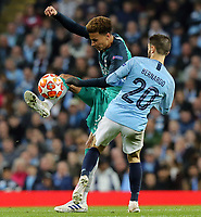 Tottenham Hotspur's Dele Alli controls under pressure from Manchester City's Bernardo Silva<br /> <br /> Photographer Rich Linley/CameraSport<br /> <br /> UEFA Champions League - Quarter-finals 2nd Leg - Manchester City v Tottenham Hotspur - Wednesday April 17th 2019 - The Etihad - Manchester<br />  <br /> World Copyright © 2018 CameraSport. All rights reserved. 43 Linden Ave. Countesthorpe. Leicester. England. LE8 5PG - Tel: +44 (0) 116 277 4147 - admin@camerasport.com - www.camerasport.com