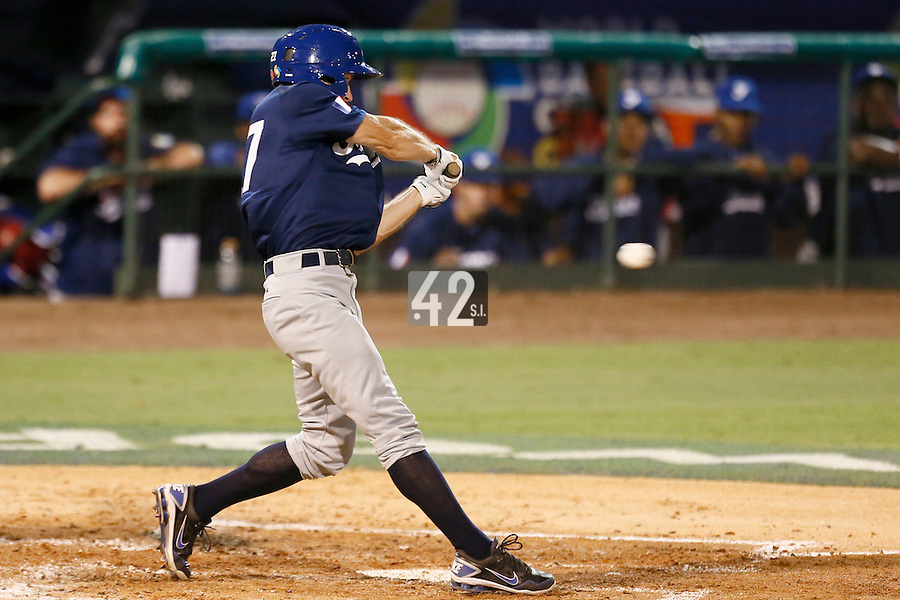 20 September 2012: Joris Bert hits the ball during Spain 8-0 win over France, at the 2012 World Baseball Classic Qualifier round, in Jupiter, Florida, USA.