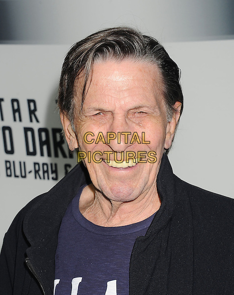 Leonard Nimoy<br /> &quot;Star Trek Into Darkness&quot; DVD/Blu-Ray Release held at the California Science Center, Los Angeles, California, USA.<br /> September 10th, 2013<br /> headshot portrait black jacket blue top smiling <br /> CAP/ROT/TM<br /> &copy;Tony Michaels/Roth Stock/Capital Pictures