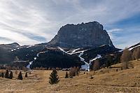 """Italy, South Tyrol (Trentino-Alto Adige), above Val Gardena: skiing is only possible due to many snow guns as here below Sasso Lungo mountain at Sella Pass   Italien, Suedtirol (Trentino-Alto Adige), oberhalb von Groeden: wie weisse Adern ziehen sich die Skipisten durch die """"winterliche"""" Berglandschaft, Skifahren ist nur Dank der Schneekanonen moeglich wie hier unterhalb des Langkofels an der Sella-Joch-Passstrasse"""
