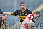 GeorgeO'Keeffe Rathmore is stopped by Currow defender John O'Connor during their O'Donoghue cup semi final in Fitzgerald Stadium on Sunday