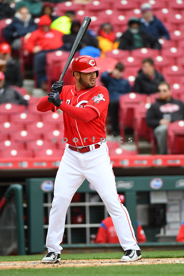 Cincinnati Reds Eugenio Suarez (7) during a game against the Philadelphia Phillies on April 6, 2017 at Great American Ballpark in Cincinnati, OH. The Reds beat the Phillies 4-7.