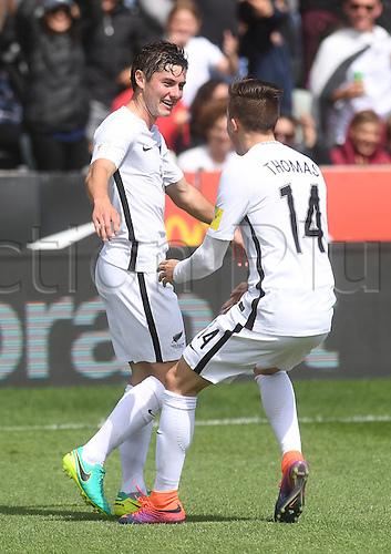 12.11.2016. Auckland, New Zealand.  Marco Rojas celebrates his first goal with Ryan Thomas.<br /> New Zealand All Whites versus New Caledonia. Oceania Football Confederation stage 3 qualifier match for the FIFA World Cup in Russia 2018. QBE Stadium, Auckland, New Zealand.