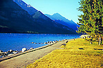 Upper Waterton Lake water sky and mountains Alberta Canada