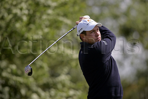 14 May 2005: English golfer BRIAN DAVIES (ENG) looks into the distance after playing from the tee during the third round of the The Daily Telegraph Dunlop Masters played at the Forest of Arden, Warwickshire. Photo: Neil Tingle/actionplus..050514 golf golfer