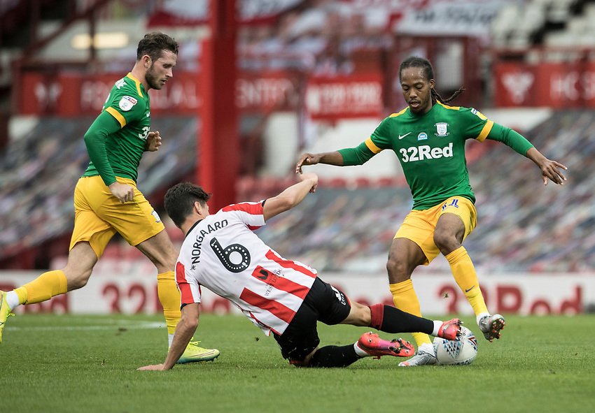 Preston North End's Daniel Johnson (right) competing with Brentford's Christian Norgaard <br /> <br /> Photographer Andrew Kearns/CameraSport<br /> <br /> The EFL Sky Bet Championship - Brentford v Preston North End - Wednesday 15th July 2020 - Griffin Park - Brentford <br /> <br /> World Copyright © 2020 CameraSport. All rights reserved. 43 Linden Ave. Countesthorpe. Leicester. England. LE8 5PG - Tel: +44 (0) 116 277 4147 - admin@camerasport.com - www.camerasport.com