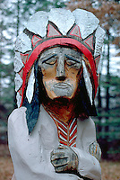 Native American wooden statue outside of vacation resort.  Nisswa Minnesota USA