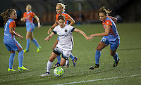 Portland, OR - Wednesday Sept. 07, 2016: Meghan Klingenberg, Cami Privett during a regular season National Women's Soccer League (NWSL) match between the Portland Thorns FC and the Houston Dash at Providence Park.