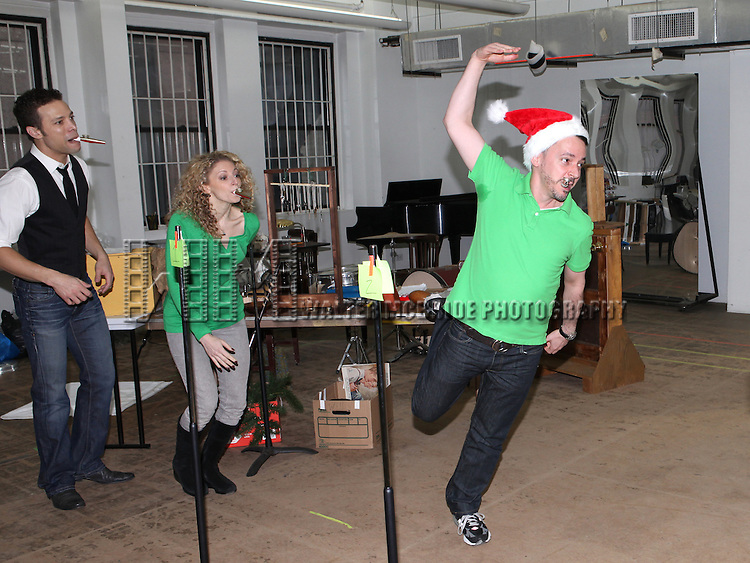 Justin Guarini, Lauren Molina & Mark Price attending the Rehearsal for the Bucks County Playhouse production of 'It's a Wonderful Life - A Live Radio Play' at their rehearsal studios in New York City on December 5, 2012.